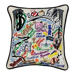 CATSTUDIO - Brooklyn Pillow by Catstudio - Celebrate the states! These pillows from Catstudio's Geography Collection are delightful keepsakes for remembering the hometown you grew up in or commemorating your favorite vacation spot. Embroidered entirely by hand (over 35 hours go into each one!) with black velvet piping, these make the perfect gift for all occasions! Removable cotton cover and polyfill pillow form. Cover is dry clean only.