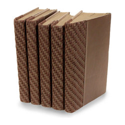 Woven Brown Books - Set of 5 - Faux leather cording and strips are worked beautifully together in a tight grid to give these Woven Brown Decorative Books their touchable depth.  The new covers crafted over these five old English novels provide moderately dark, neutral-hued books that would be at home in any manor library but have a touch of the rugged country in their styling.