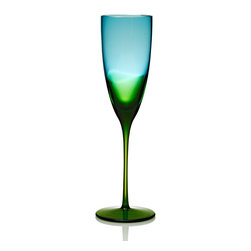 """Frontgate - Kim Seybert Set of Four Vague Champagne Flutes - Designed by Kim Seybert. Heirloom-quality artisanal barware makes a perfect wedding or housewarming gift. 100% handmade glass. Dishwasher-safe. A modern yet timeless heirloom, our Kim Seybert Vague Glass collection breathes fresh life into the ancient art of glass blowing. French for """"wave,"""" each Vague piece is handmade by Eastern European glass masters, with a stunning horizon where blue meets green glass.  .  .  .  . Handcrafted in Czechoslovakia."""