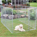 PetSafe - Dog Kennel: PetSafe Boxed Chain Link Dog Kennel - Shop for General Pet Supplies from Hayneedle.com! The Pet Safe Boxed Kennel is highly functional and boasts 12.5-gauge chain link construction made from weatherproof galvanized steel. This do-it-yourself boxed kennel comes in various standard kennel sizes to suit any dog both big and small. This one-door boxed kennel can be repositioned without difficulty and is easy to assemble with the help of common hand tools and easy-to-follow instructions (provided). Parts are shipped in a single box and contain a pre-assembled gate. SIZE DIMENSIONSBoxed Kennel Medium: 7.5L x 7.5W x 6H feetBoxed Kennel Large: 12L x 7.5W x 6H feetBoxed Kennel X-Large: 13L x 7.5W x 6H feet Fencemaster quality pet products are produced by the parent company PetSafe. PetSafe is a company of pet lovers and its main mission is to create a variety of products that are both safe and effective for you and your beloved pets. From electronic pet doors to wireless containment systems to remote training PetSafe covers all aspects of pet care. Fencemaster systems are made from superior materials and innovative designs and are designed to give you peace of mind where your pets are concerned.