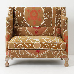 Greenfynch Settee, Vintage Suzani - The toned-down colors of this suzani-style upholstery almost read as a neutral, so you get to have a trendy pattern and still keep it relaxed.