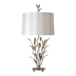 """lamps - Leaves extend up the base of the Brienne lamp all the way to the finial and are enhanced with a rich champagne finish and gorgeous white silk shade.  31""""H"""