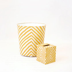 Zebra Print Wastebasket, Yellow - Functional yet fun, this yellow zebra wastebasket and tissue box will bring a modern and wild side to your home. It can even double as a flower planter or a place to store magazines. The opportunities are endless!