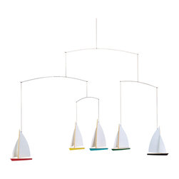 Flensted Mobiles - Dinghy Regatta 5 Mobile - Fleet week is every week with this regatta of five single-mast dinghies. It's the perfect addition to your lake house, nursery or playroom. Constructed with a wooden hull and outfitted with paper sails, they tack and jibe with the faintest breeze.