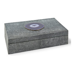 Kathy Kuo Home - Destin Coastal Beach Charcoal Shagreen Purple Agate Rectangle Decorative Box - L - Large and luxurious, this shagreen-covered box adds a Coastal Beach accent to a dresser, table or nightstand. Rich and vibrant, the textured charcoal finish is bejeweled with a slice of purple agate on the top. It is the perfect place to store your essentials.