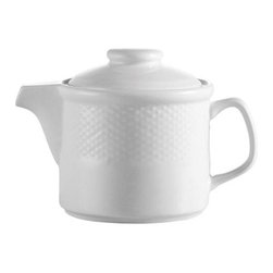CAC China - Boston Pattern 15 oz White Teapots - Case of 36 - C.A.C. China provides durable dinnerware at all levels including super white porcelain, fine bone china, American white china, colored glaze china, and Asian style china. C.A.C China offers a variety of innovative shapes from square rectangular triangular wavy to round that will brighten up any table. All C.A.C China products are oven microwave and dishwasher safe.