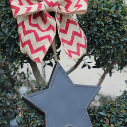 Spring / Summer Wreaths - This Chalkboard Star Sign is tied up with Red Chevron Burlap bow and would make perfect addition to any home! Your guests would be happy to be greeted by such a simple and patriotic statement. Ready for your greeting....Happy 4th of July, Happy Memorial Day, Happy Labor Day. I even include the chalk!!!! Can be hung anywhere with a wreath hanger or hook.