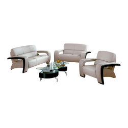 VIG Furniture - Sydney Beige Bonded Leather 3 Piece Sofa Set With Wood Accents - The Sydney sofa set is a great addition for any modern themed living room decor. This sofa set comes upholstered in a beautiful beige bonded leather. High density foam is placed within the cushions for added comfort. Only solid wood products were used when crafting the sofa set making it very durable. On the sides of each piece are black wood accents that add to the overall look. The sofa set includes one sofa, loveseat, and chair only.