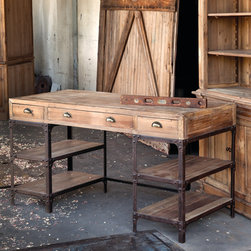 Vintage Style Pine Desk - We're talking solid state storage! The thick box top is crafted of wood while the base is metal framing with plank wood shelving. Drawers have bin pulls. This workhorse will last until your retirement. And beyond. A home and garden collection selected that bring happy memories of childhood past. Whether you are looking for period charm, a style of elegant restraint or just want to infuse a spirit of playfulness, you'll find it here.