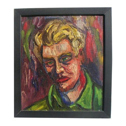 "Ruffner Expressionist Portrait 1940 CA - With thick and layered expressionist brush strokes, Ruffner renders a portrait of himself in a green shirt accented by his blonde yellow hair and blue and red shadows. Kenneth J. Ruffner [signature and date inscribed just above Ruffner's right shoulder]; California: 1914-90 ] , Self Portrait, oil on stretched canvas], 1940. Size: 12 x 14"" plus  black wood frame [15 x 17 overall]. About the artist: Ruffner is listed on Askart and in Hughes, Artists in CA. He exhibited in San Francisco and Los Angeles 1940. This piece is part of an estate collection of ten figural paintings all signed and most dated 1945."
