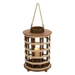 """Benzara - Lantern with Circular Cap and Rope Handle - This beautiful wooden lantern is the perfect choice to add classical charm to your room decor while being useful in the dark. The circular base is fitted with wooden pieces covered stylishly by a circular cap. A smaller cap crowns the top surface and has a couple of rings for fastening a rope handle. The wooden pieces are accented by thin strips that run horizontally to complete the attractive lantern appearance in style. The lantern with the rope handle can be carried around conveniently. The lantern also can be displayed as a worthy art piece and used as a wall hanger using the convenient rope handle. The touch of classical craftsmanship combined with aesthetic appeal makes this wooden lantern a worthy piece of art. Made of high quality wooden pieces, this lantern is structured like a cage inside which sits the lamp or candle giving pleasant lighting in the dark..; Wooden lantern crafted in classical style; High quality wooden pieces crafted together; Compact design with convenient rope handle; Enhances the decor; Weight: 2.64 lbs; Dimensions:10""""W x 10""""D x 24""""H"""