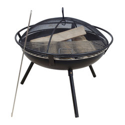 None - Rio Grande Wood Fire Pit - This Rio Grande wood fire pit is perfect for any backyard or patio space. A mesh spark guard, fire poker and removable grill grate highlight this fire pit.
