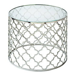 "Regina Andrew - Regina Andrew Furniture Brushed Nickel Glass Top Table - Regina Andrew Designs marries vintage style with modern flair for a home collection that's truly timeless. A simple quatrefoil pattern and sleek silver finish give the round Brushed Nickel table a classy, retro style. Its open air design is finished with a beveled glass top. Beautiful and versatile, this look makes a charming end table, bed side table or accent table. Table measures 22"" Diameter x 18""H."