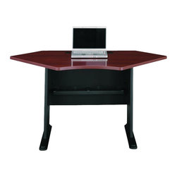 BBF - Bush Series A Hansen Cherry 42 in Corner Desk - Bush - Computer Desks - WC94442 - Add quality and function to any office with the Bush Series A Hansen Cherry 42 in Corner Desk. It is built with a durable scratch and stain resistant work surface and wire grommets in the back panel and desktop for easy cable management. It also features molded plastic feet with steel inserts for support and adjustable levelers for stability on uneven floors. This corner desk is finished in Hansen Cherry and requires some assembly.