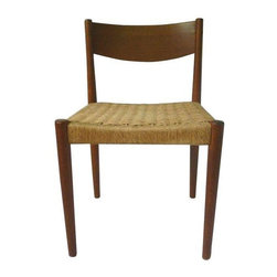 """Vintage Danish Teak Rope Cord Chair - A vintage Mid-Century Danish teak rope chair with a """"Furniture Makers Danish Control"""" stamp in the style of Poul Volther. The rope cord is in excellent condition (no unraveling or holes.) The legs and back have a few nicks but they do not take away from the look of the chair. It cannot be confirmed that this is a Poul Volther chair, but the stamp indicates the following:  the stamp originated in 1959 to ensure that its members are the leading furniture manufacturers and guarantees that a piece is of the highest quality. It was established in direct response to the many American-made knock-offs of the time. To be a member of the DFQC a manufacturer must follow strict requirements set forth for materials, production methods and overall quality of product."""