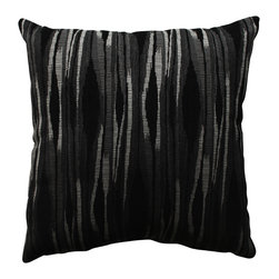 Pillow Perfect - Pillow Perfect Kasuri Charcoal 18-inch Throw Pillow - Add the perfect blend of style and comfort to any space in your home with this 18-inch black and grey ikat throw pillow from Pillow Perfect. Sophisticated knife edges and a lovely polyester cover complete the design of this decorative pillow.