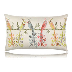 Elaine Smith - lovebirds lumbar pillow (12x20) - Performance pillows from renowned textile designer Elaine Smith® feature unique fabrics that are both soft and stylish, rich in color, lavish in detail, and impervious to the elements.