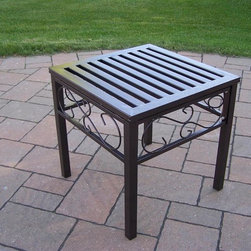 Oakland Living - 18 in. Patio End Table - Lightweight. Metal hardware. Fade, chip and crack resistant. Crisp and stylish traditional straight pattern. Warranty: one year limited. Made from durable tubular iron. Hammer tone bronze hardened powder coat finish. Minimal assembly required. 18 in. W x 18 in. D x 19 in. H (12 lbs.)The Oakland Rochester Collection combines practical designs and modern style giving you a rich addition to any outdoor setting. Each piece is hand cast and finished for the highest quality possible.