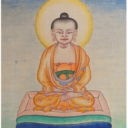 Little Buddha (Original) by Fnu Tenzin Dhonden - Little Buddha , makeing time is one week, done on a hand made cotton canvas , very thin color line by 000 bamboo brush , colors are long lasting dry pigment colors  grinding by hand,all drawing dimension details.