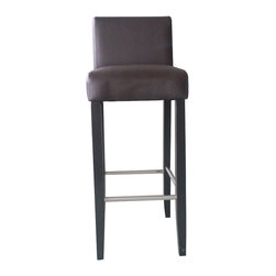 4D Concepts - 4D Concepts Low Back Barstool in Brown - This beautifully crafted low back barstool is great for any dinning or kitchen area. The low back supports the lower lumbar and the textured vinyl fabric finishes the product. The silver rail on the bottom portion of the chair gives the barstool a classic look as well as adding strength to the product. The legs are finished in a rich espresso color. This low back barstool is the ideal way to complete the look of your dining area or serving area. Assemble required.