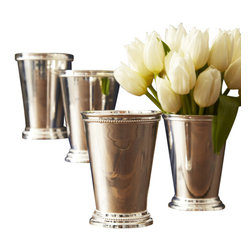 Zhush - Mint Julep Cups, Set of 4 - This set of four Mint Julep Cups is the perfect addition to your fine dining essentials. They are food safe and should be hand washed only. We love to use them as desktop accessories to hold pens and pencils and as chic small vases. These cups are made from lacquered silver plated brass and will last for years to come!