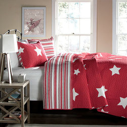 Lush Decor - Star Red Two-Piece Twin Quilt Set - - Recreate celestial feel in your bedroom with this classic printed quilt. Star pattern on one side and matching colored stripes reverse with matching shams, this style is a star in itself. Made from 100% cotton, this set is soft to the hand and has wonderful quilting details  - Set Includes: 1 quilt, 1 sham  - Care Instructions: Machine wash cold, gentle cycle, only non chlorine bleach when needed, tumble dry low, steam if needed, do not iron  - Fill Content: 100% polyester Lush Decor - C22757P14-000