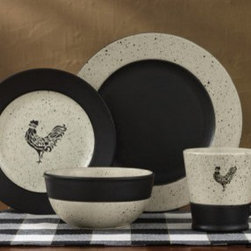 Black and White Dinnerware Set with Roosters -