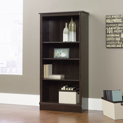 """Sauder - Bookcase in Cinnamon Cherry - Features: -Bookcase. -Cinnamon cherry finish. -Four shelves. -Three adjustable shelves. -Patented slide on moldings. -Assembly required. -Manufacturer provides 5 year warranty. -Overall Dimensions: 59.5"""" H x 29.25"""" W x 11.5"""" D."""