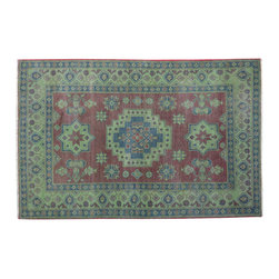 1800-Get-A-Rug - Hand Knotted Overdyed Kazak Light Green 100% Wool Oriental Rug Sh15047 - Our Tribal & Geometric Collection consists of classic rugs woven with geometric patterns based on traditional tribal motifs. You will find Kazak rugs and flat-woven Kilims with centuries-old classic Turkish, Persian, Caucasian and Armenian patterns. The collection also includes the antique, finely-woven Serapi Heriz, the Mamluk Afghan, and the traditional village Persian rug.