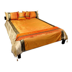 Oriental Furniture - Thai Silk Elephant Duvet Set - Amber - King - This beautiful, unique design Thai silk bedding set includes 6 distinctive, well coordinated pieces. The bedding is beautifully accented with a tw- tone design, corner tassels, and a subtle, golden trim featuring Thai elephants and floral patterns.