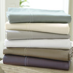 Ballard Designs - Sateen Bedding - Choose from six Tuscan-inspired colors. Coordinates with our Casa Florentina Sateen Sheet Sets. Includes drawstring storage bag. Shams can be monogrammed. Made in Italy from luxuriously soft 100% cotton, our Casa Florentina Cotton Sateen Duvet Set has a silky hand and low-luster sateen finish. Each piece is bordered in refined Florentine stitching for an elegantly tailored attitude. The understated, neutral colors were carefully selected to blend with the hand finishes of our Casa Florentina furniture to create a sophisticated European look. The more you wash them and sleep in them, the softer these sumptuous linens become. Set includes: duvet, 2 standard shams, and 2 euro shams (one of each standard and euro shams for Twin).Cotton Sateen Duvet Set features:. . . .