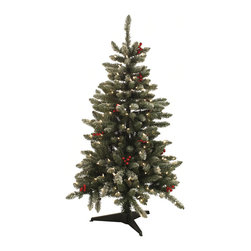 None - 4.5-foot Pre-lit Berry Flocked Tree - This pre-lit tree has a very contemporary look with full profile,flocked tips and large artificial red berries. Light strands are already placed within the branches and plug in with cord. Hinged branches make for easy setup.