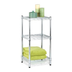 "Honey Can Do - Honey-Can-Do 3-Tier Steel Wire Shelving Tower in Chrome - Create visible, accessible storage space instantly with Honey-Can-Do industrial shelving systems. Contemporary chrome finish and 48"" steel frame make this unit the perfect blend of style and functionality. The no-tool assembly allows you to construct in minutes a shelving unit that will last for years."