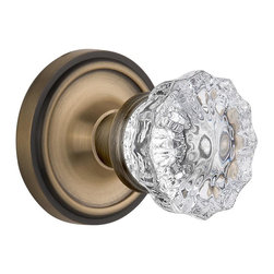 Nostalgic - Nostalgic Privacy-Classic Rose-Crystal Knob-Antique Brass (NW-702182) - Classic Rose with Crystal Knob - Privacy