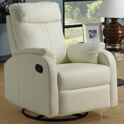 Monarch - Ivory Bonded Leather Swivel Rocker Recliner - This contemporary design accent chair combines 3 functional elements.....it swivels......it rocks.....and it reclines, ensuring that you are always in a comfortable position. This ivory bonded leather chair with a padded head and arm rest was designed for ultimate comfort. Whether reading a book or watching sports this will be the chair that everyone will want to sit on. The easy glide motion and the contemporary design makes it a chic and fashionable addition for your den, bedroom, living room or basement. It truly is a chair for any room in your home.