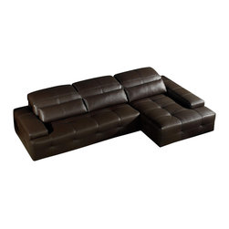 VIG Furniture - Sorrento Chocolate Brown Tufted Top Grain Italian Leather Sectional Sofa - The Sorrento sectional sofa is a great choice for any living room that needs a touch of modern design. This sectional sofa comes upholstered in a beautiful chocolate brown top grain leather in the front where your body touches. Skillfully chosen match material is used on the back and sides where contact is minimal. High density foam is placed within the cushions for added comfort. Only solid wood products were used when crafting the frame making it very durable. This sectional features a tufted design that adds to the overall look.