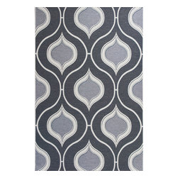 """Horizon 5728 Slate Groove Rug - Horizon 5728 Slate Groove 3'4"""" x 4'11"""". Machine-Made of 100% UV-Treated Polypropelene Flatweave for Indoor/Outdoor Living with No Backing. Made in Belgium. Vacuum regularly & spot clean stains. Professional cleaning recommended periodically."""