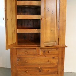 Custom built farmhouse armoire in fruitwood fininsh - Made by http://www.ecustomfinishes.com