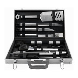 Mr Bar B Q - 21-Piece Tool Set - Mr, Bar-B-Q Silver Prestige 21 Piece Tool Set With Aluminum Case includes an Oversized 4-in-1 spatula, fork, tongs, basting brush, knife, 8 corn holders, 4 skewers, grill brush with replaceable head, 1 replacement head, salt & pepper shaker and aluminum carrying case.  Durable stay cool tubular handles.