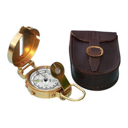 Solid Brass Military Lensatic Compass w/ Leather Case - This solid brass reproduction of a Military Lensatic Compass easily folds to fit in your pocket.  The compass card has both the standard 0 - 360 degree scale, as well as the 0 - 64 Mil scale (one yard at 1,000 yards).  The cardinal points are luminous for easy glow-in-the-dark viewing.  It features a standard glass bezel with two lines at 45 degree angles.  The bezel also rotates with detents so you can change the heading reference a known amount without looking at the compass.  The front sight has a magnifier to simultaneously view the magnetic heading when taking a sight.  Folding the sight down operates a needle lift mechanism to protect the compass bearing.  On the side of the compass is a needle freeze mechanism to hold a reading.  The compass measures 2 1/8 inches (5.4 cm) in diameter and 7/8 inches (2.2 cm) thick.  This compass is beautifully crafted from solid brass.  The back is plain.  A 100 percent leather case comes with the compass.