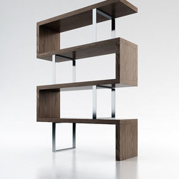 Pearl Contemporary & Modern Bookcases by ModLoft - The Pearl bookcase adds a modern edge to any room. Four fixed hardwood shelves with ladder-style steel chrome supports give the Pearl a light appearance. Clean, modern lines and open shelving allow this stunning piece to act as a natural partition between adjacent rooms in the home. Measures 51L x 14D x 66H (distance between shelves 14.5H). Light assembly required. Engineered wood. Available in wenge or walnut wood finishes. Also available in white lacquer finish. Photo shown as pair. Sold separately. Imported.