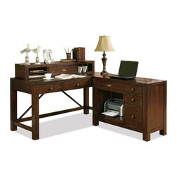 Riverside Furniture - Castlewood Computer Workstation in Warm Tobaco Finish - Top drop-front drawer with 2-outlet power bar and wiring access hole.