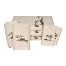 Oriental Furniture - Chinoiserie Bath Set - 7 Piece - Ivory - This 7 piece luxury bath towel set features an embroidered chinoiserie design. These towels are made of extraordinarily plush Turkish grown ring spun cotton with exceptionally fine high density embroidery. Set includes the following: