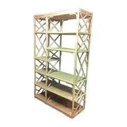 Pre-owned Vintage Bamboo & Rattan Chippendale Lattic Etagere - This is a statement piece! A Mid-Century regency Chippendale lattice bamboo wall unit that has a Milo Baughman feel. Each shelf is covered in rattan weave. Underneath the rattan is solid wood, so this piece is very sturdy and can hold heavier items. Great for homes in a variety of styles and decors.