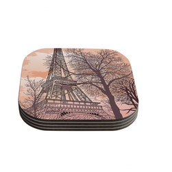 """Kess InHouse - Sam Posnick """"Eiffel Tower"""" Coasters (Set of 4) - Now you can drink in style with this KESS InHouse coaster set. This set of 4 coasters are made from a durable compressed wood material to endure daily use with a printed gloss seal that protects the artwork so you don't have to worry about your drink sweating and ruining the art. Give your guests something to ooo and ahhh over every time they pick up their drink. Perfect for gifts, weddings, showers, birthdays and just around the house, these KESS InHouse coasters will be the talk of any and all cocktail parties you throw."""