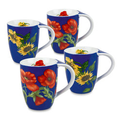 Konitz - Set of 4 Mugs Flowers on Blue - 2 Poppy, 2 Sunflower - Bring a garden escape to your coffee break with this set of floral mugs. Bright orange poppies and bright yellow sunflowers blossom across a blue surface.