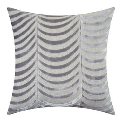 "Adam & Viktoria - Adam & Viktoria Fishskin Tin Pillow - Final Sale - Adam and Viktoria's minimalist Fishskin throw pillow tickles the senses. Simple contemporary arcs link to create its clever scale pattern in tin gray. 21""W x 21""H; Linen with embroidered velvet; Hidden zipper closure; Down feather pillow insert included; Dry clean only"