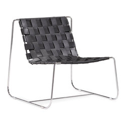 """Tosh Furniture - Duluth Lounge Chair Black - Submerge yourself in a supple braided leather seat. The Prospect lounge chair is made from 100% recycled leather braided onto a chrome base. Black; Leather; Chromed Steel Finish; No assembly required; Overall dimensions: 28.5""""W x 30""""L x 28.5""""H; Seat Height: 15.5""""; Seat Depth: 19""""; Seat Width: 22"""""""