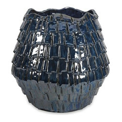 "Silver Nest - Navy Shingle Planter- 18.25""h - With a leather semblance, the Navy Shingle Planter's unique texture gives any space a vibrant look."