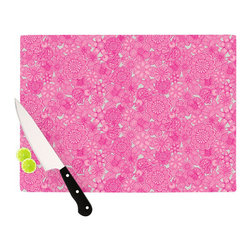 """Kess InHouse - Julia Grifol """"Welcome Birds To My Pink Garden"""" Cutting Board (11.5"""" x 15.75"""") - These sturdy tempered glass cutting boards will make everything you chop look like a Dutch painting. Perfect the art of cooking with your KESS InHouse unique art cutting board. Go for patterns or painted, either way this non-skid, dishwasher safe cutting board is perfect for preparing any artistic dinner or serving. Cut, chop, serve or frame, all of these unique cutting boards are gorgeous."""